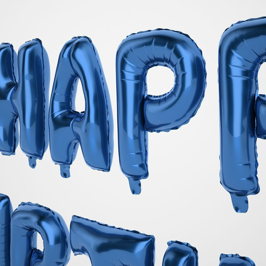 Foil Balloon Blue Words Happy Birthday royalty-free 3d model - Preview no. 27