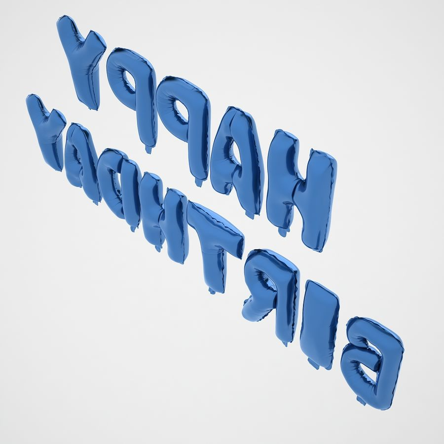 Foil Balloon Blue Words Happy Birthday royalty-free 3d model - Preview no. 13