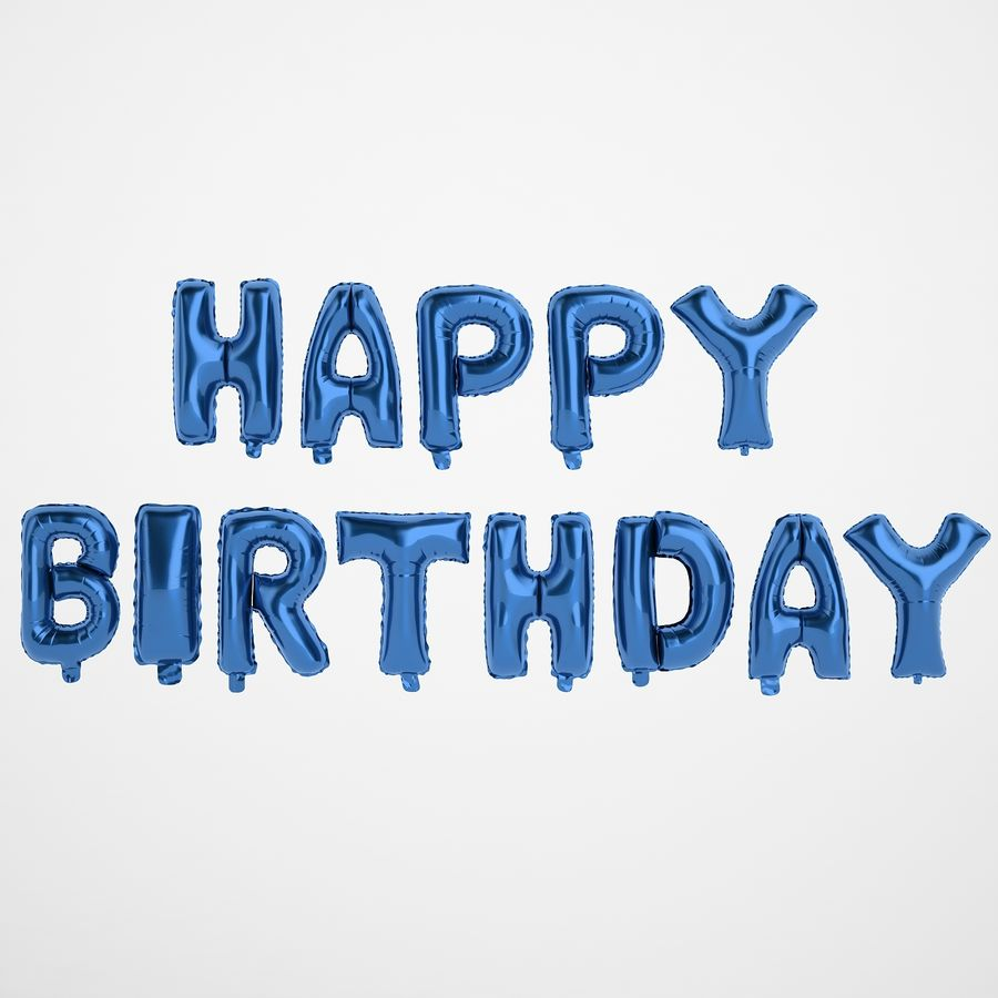 Foil Balloon Blue Words Happy Birthday royalty-free 3d model - Preview no. 5
