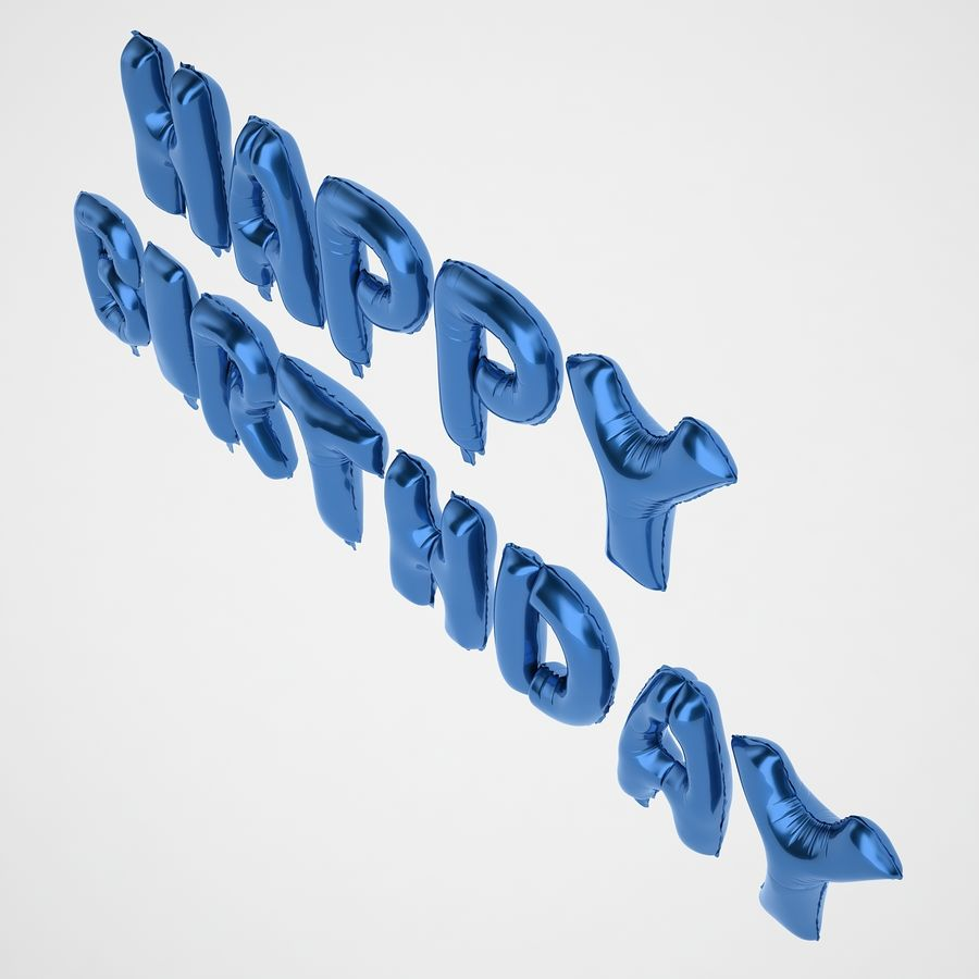 Foil Balloon Blue Words Happy Birthday royalty-free 3d model - Preview no. 9