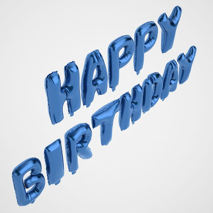 Foil Balloon Blue Words Happy Birthday royalty-free 3d model - Preview no. 7