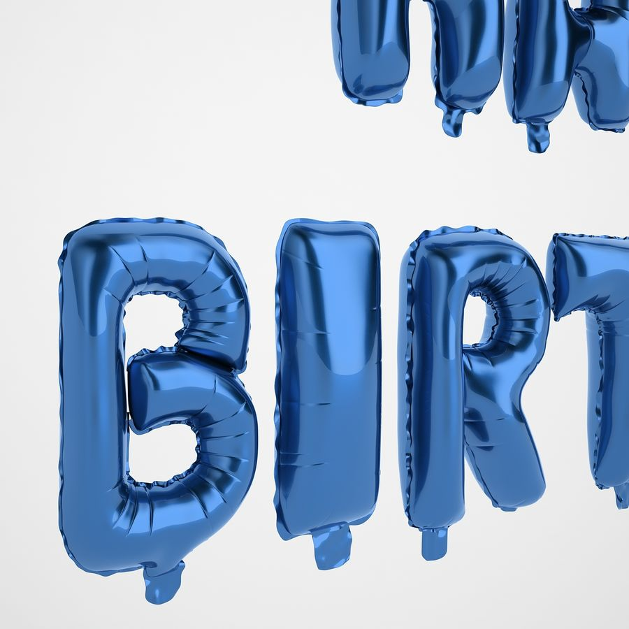 Foil Balloon Blue Words Happy Birthday royalty-free 3d model - Preview no. 15