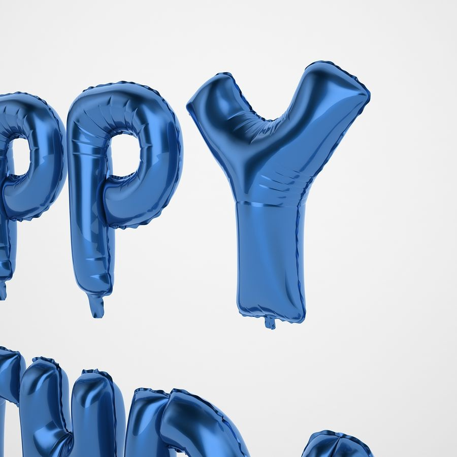 Foil Balloon Blue Words Happy Birthday royalty-free 3d model - Preview no. 23
