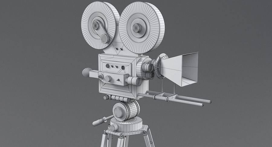 Retro Movie Camera royalty-free 3d model - Preview no. 20