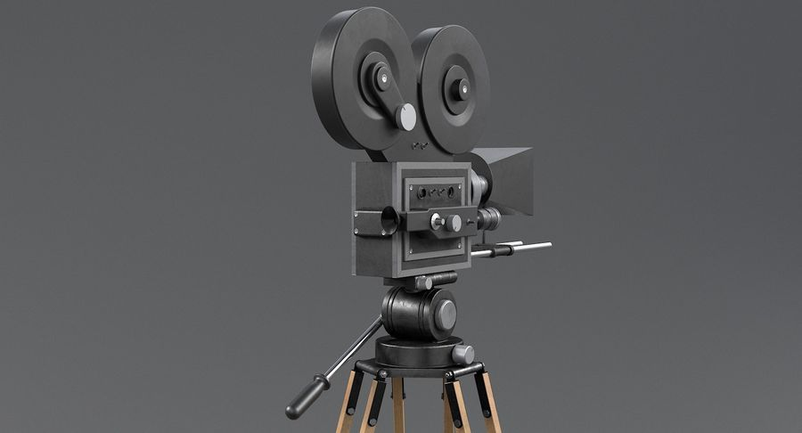 Retro Movie Camera royalty-free 3d model - Preview no. 10