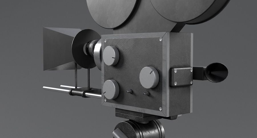 Retro Movie Camera royalty-free 3d model - Preview no. 12