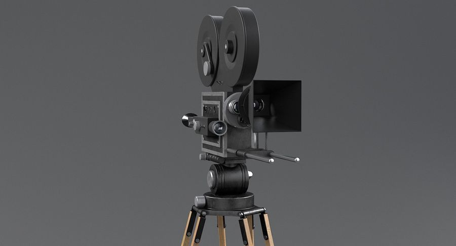 Retro Movie Camera royalty-free 3d model - Preview no. 7