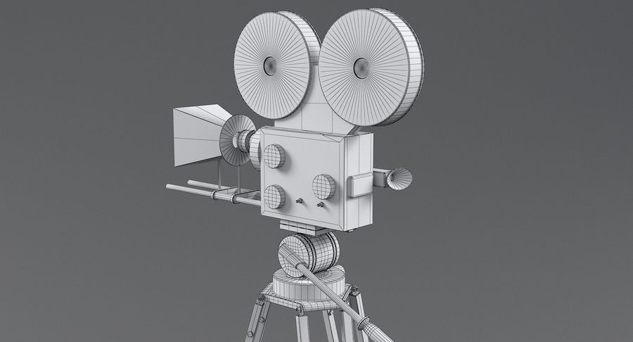Retro Movie Camera royalty-free 3d model - Preview no. 21