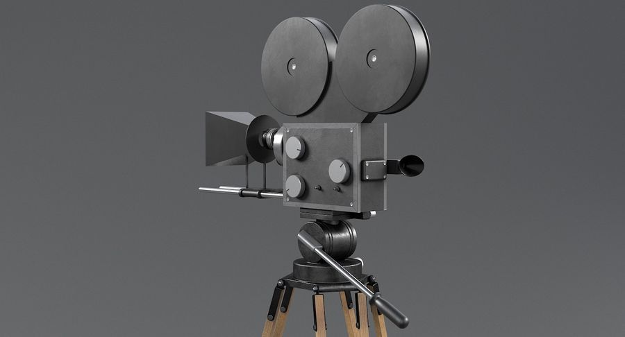 Retro Movie Camera royalty-free 3d model - Preview no. 9