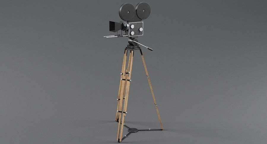 Retro Movie Camera royalty-free 3d model - Preview no. 3