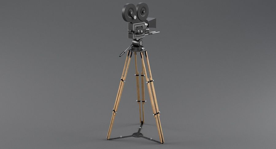 Retro Movie Camera royalty-free 3d model - Preview no. 5