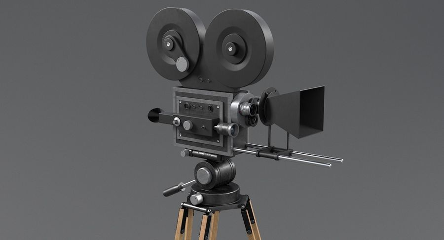 Retro Movie Camera royalty-free 3d model - Preview no. 6