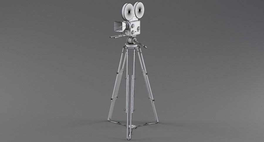 Retro Movie Camera royalty-free 3d model - Preview no. 17