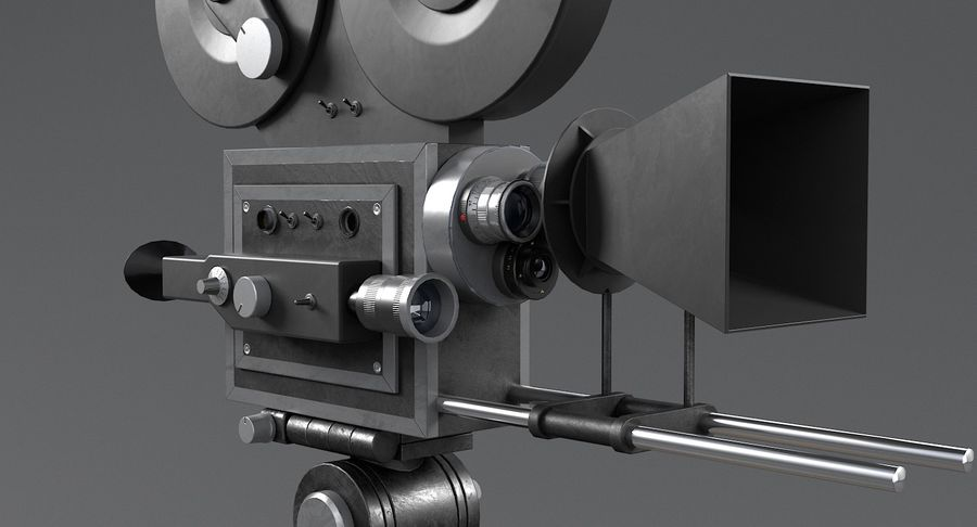Retro Movie Camera royalty-free 3d model - Preview no. 11