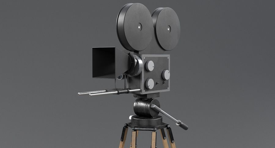 Retro Movie Camera royalty-free 3d model - Preview no. 8