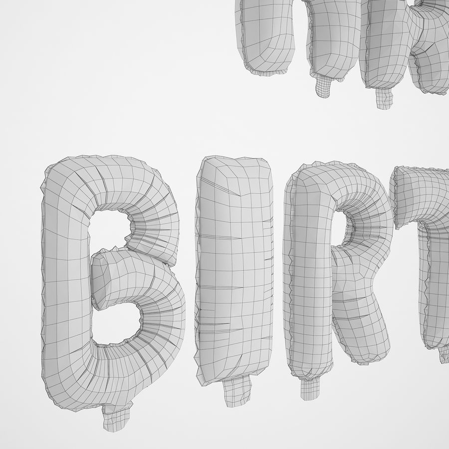 Foil Balloon Silver Words Happy Birthday royalty-free 3d model - Preview no. 16
