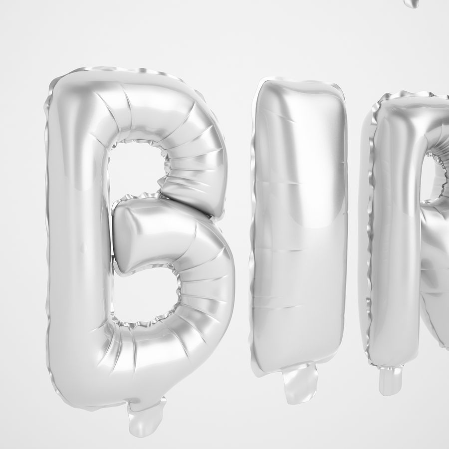 Foil Balloon Silver Words Happy Birthday royalty-free 3d model - Preview no. 33