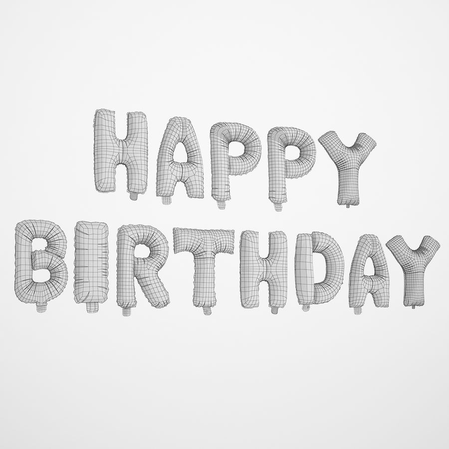 Foil Balloon Silver Words Happy Birthday royalty-free 3d model - Preview no. 4