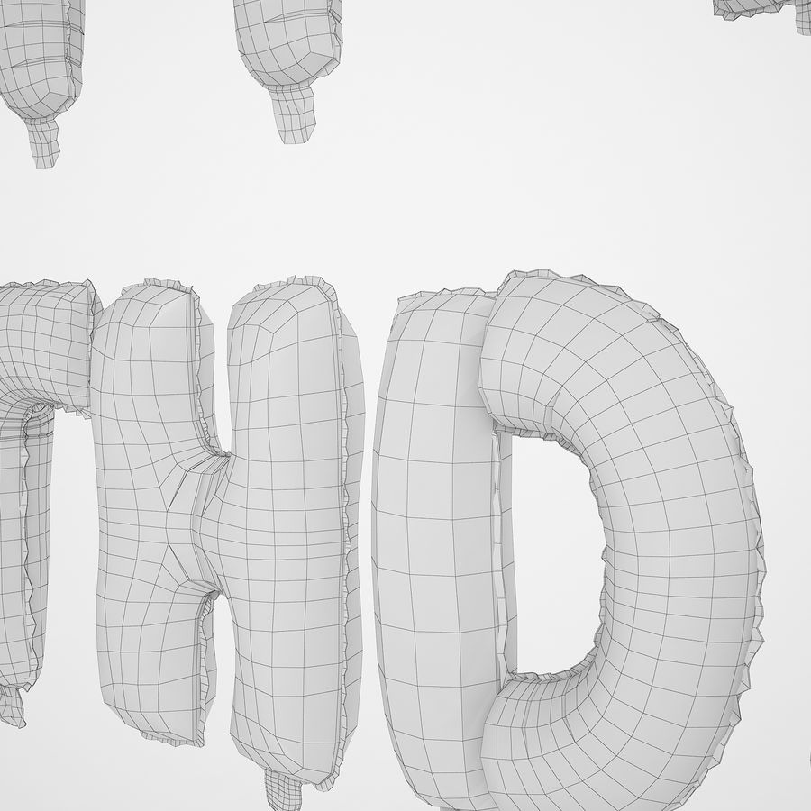 Foil Balloon Silver Words Happy Birthday royalty-free 3d model - Preview no. 26