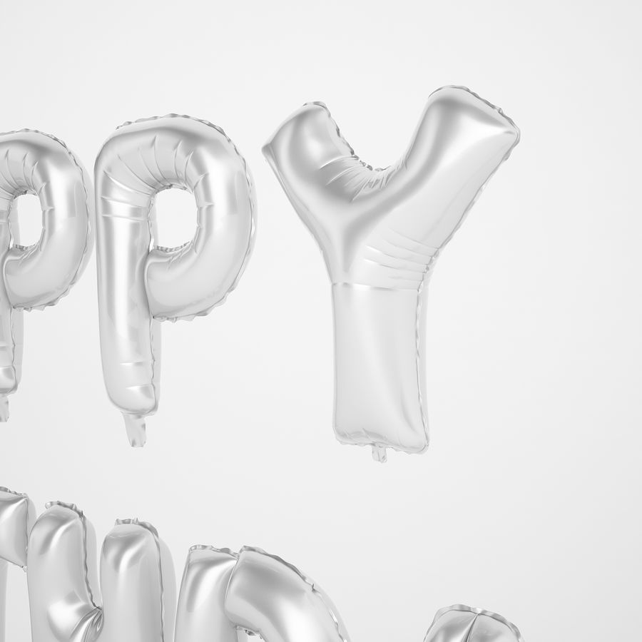 Foil Balloon Silver Words Happy Birthday royalty-free 3d model - Preview no. 23