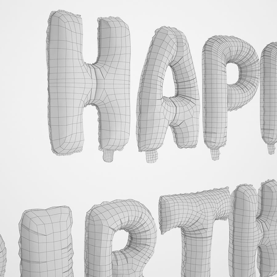 Foil Balloon Silver Words Happy Birthday royalty-free 3d model - Preview no. 18