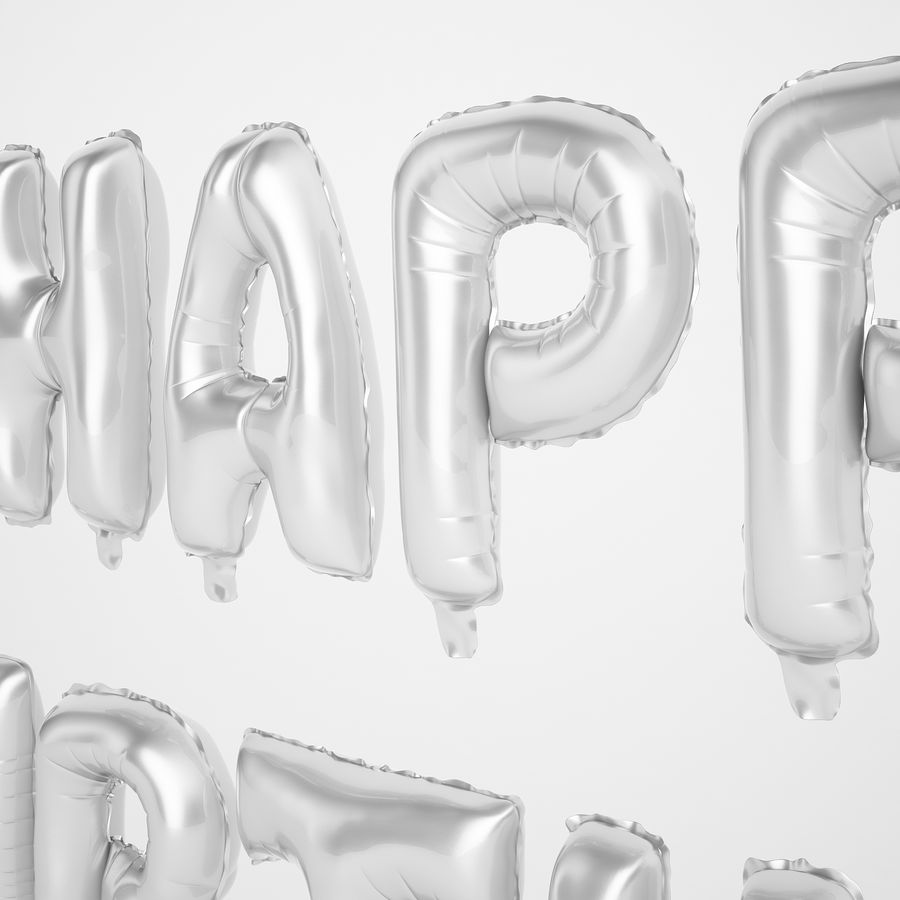 Foil Balloon Silver Words Happy Birthday royalty-free 3d model - Preview no. 27