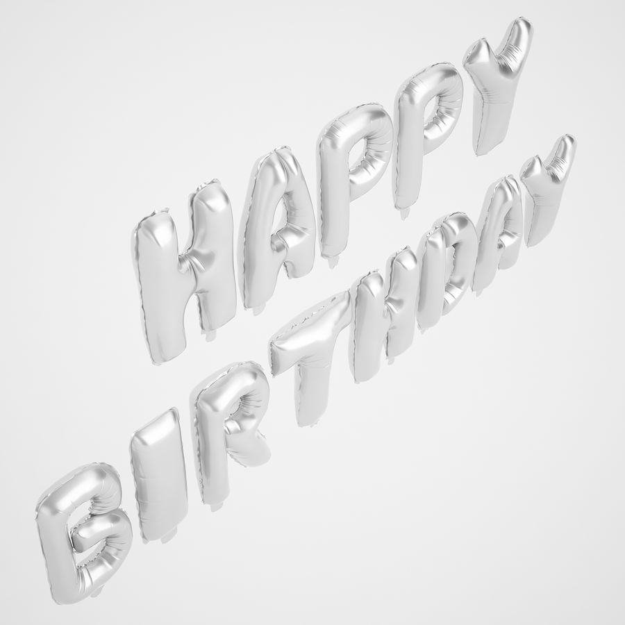Foil Balloon Silver Words Happy Birthday royalty-free 3d model - Preview no. 7