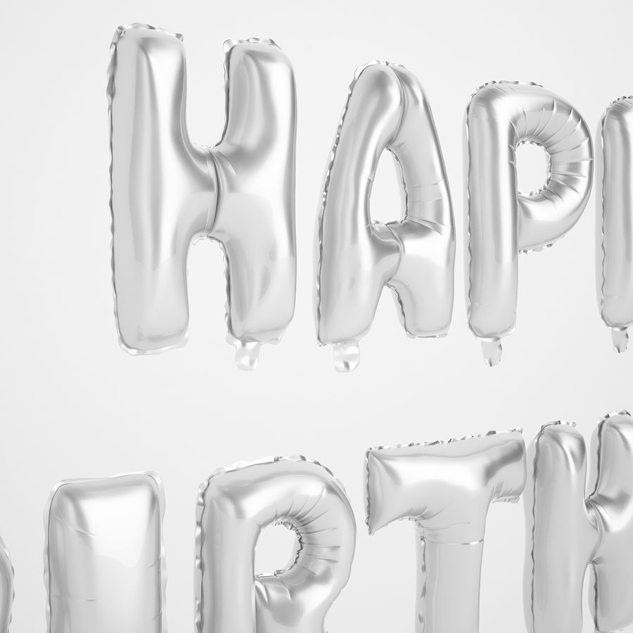 Foil Balloon Silver Words Happy Birthday royalty-free 3d model - Preview no. 17