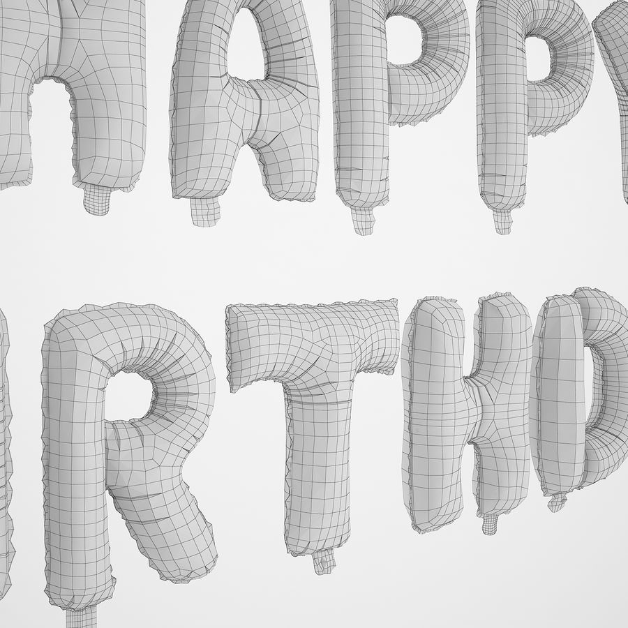 Foil Balloon Silver Words Happy Birthday royalty-free 3d model - Preview no. 20
