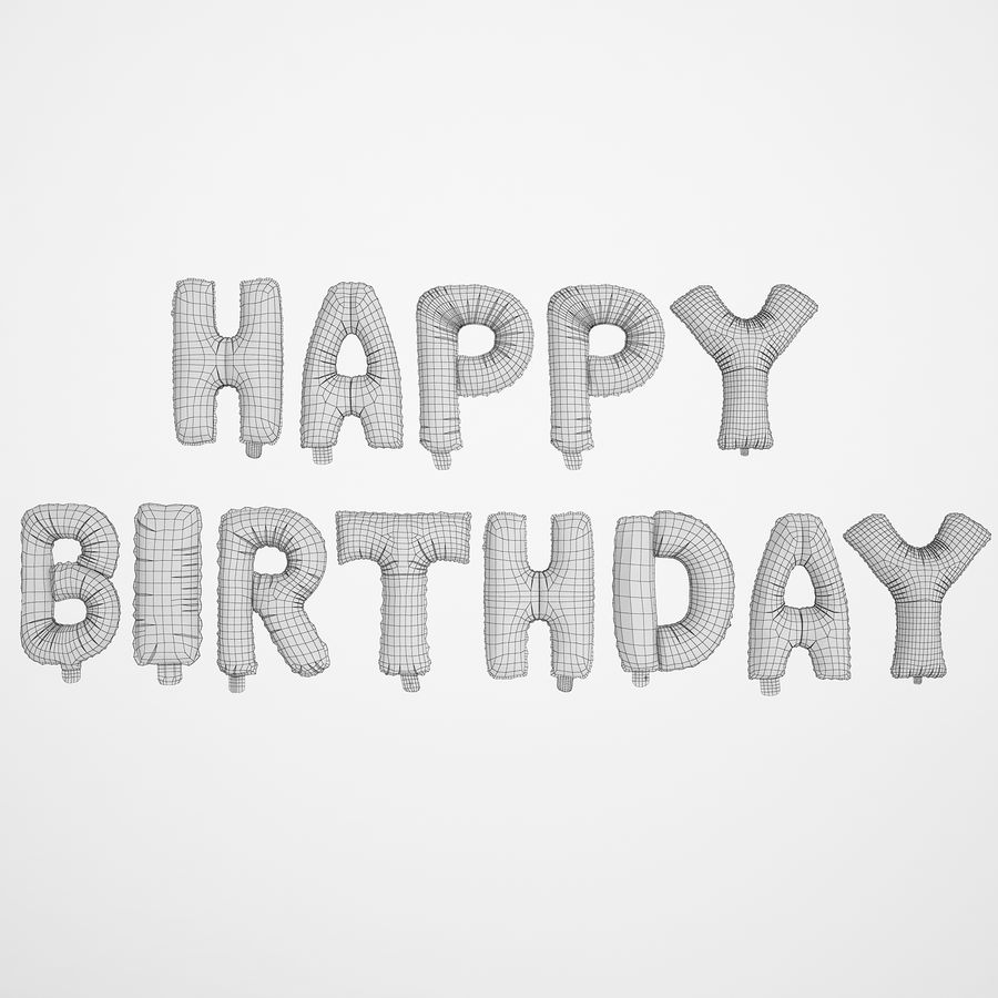 Foil Balloon Silver Words Happy Birthday royalty-free 3d model - Preview no. 6