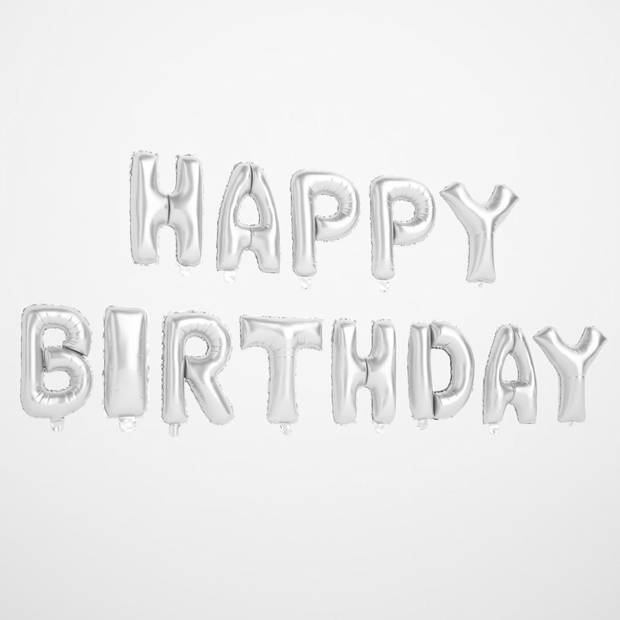 Foil Balloon Silver Words Happy Birthday royalty-free 3d model - Preview no. 2