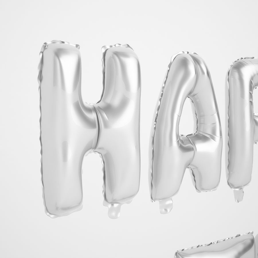 Foil Balloon Silver Words Happy Birthday royalty-free 3d model - Preview no. 29