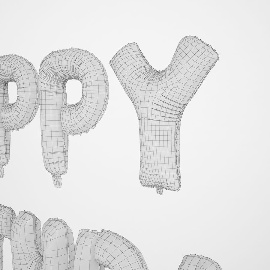 Foil Balloon Silver Words Happy Birthday royalty-free 3d model - Preview no. 24