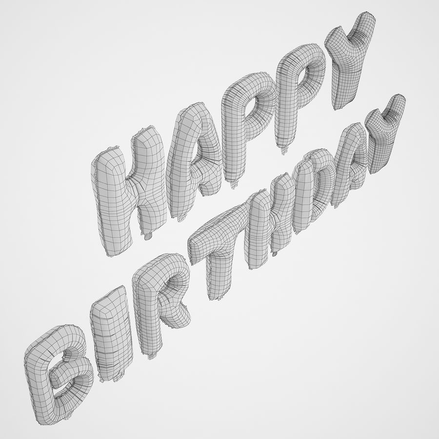 Foil Balloon Silver Words Happy Birthday royalty-free 3d model - Preview no. 8