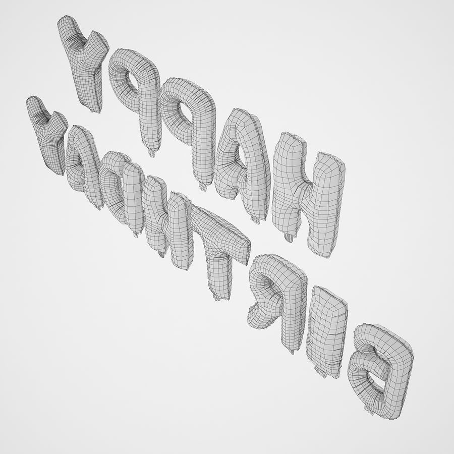 Foil Balloon Silver Words Happy Birthday royalty-free 3d model - Preview no. 14