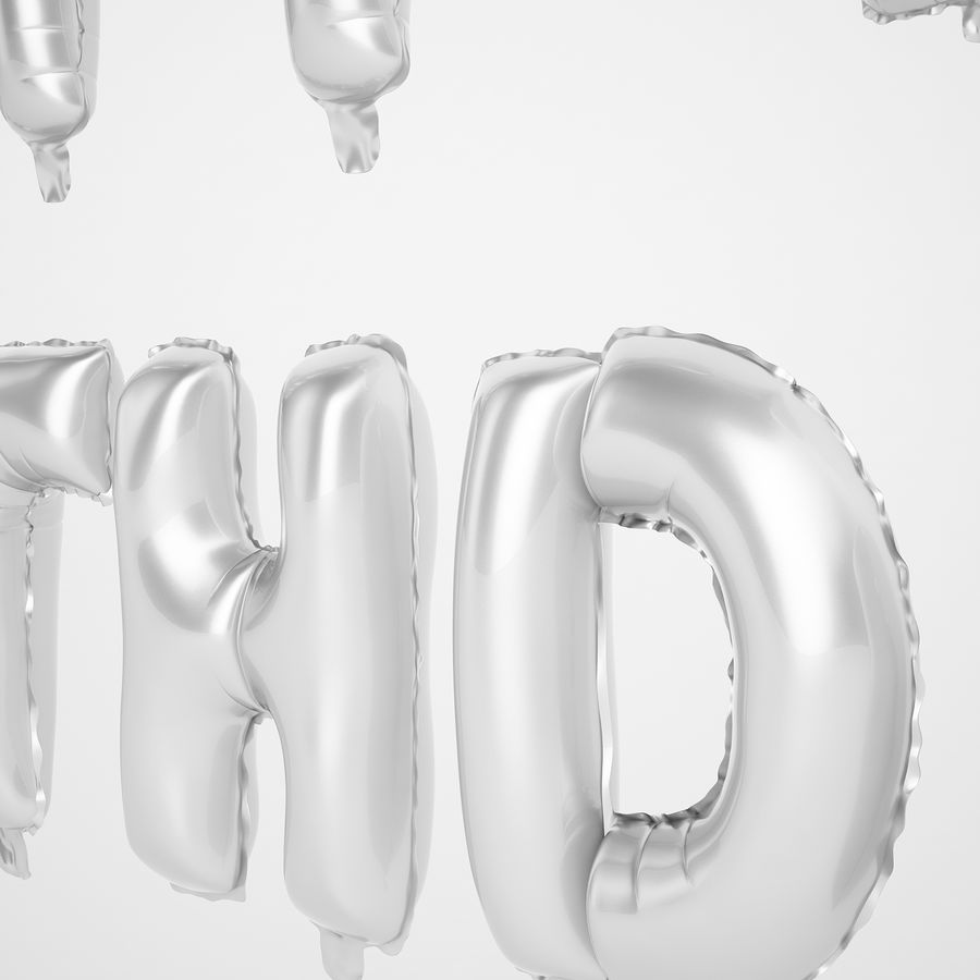 Foil Balloon Silver Words Happy Birthday royalty-free 3d model - Preview no. 25