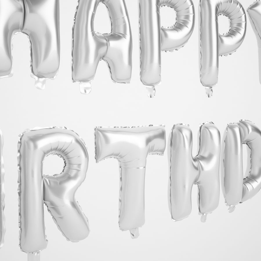 Foil Balloon Silver Words Happy Birthday royalty-free 3d model - Preview no. 19