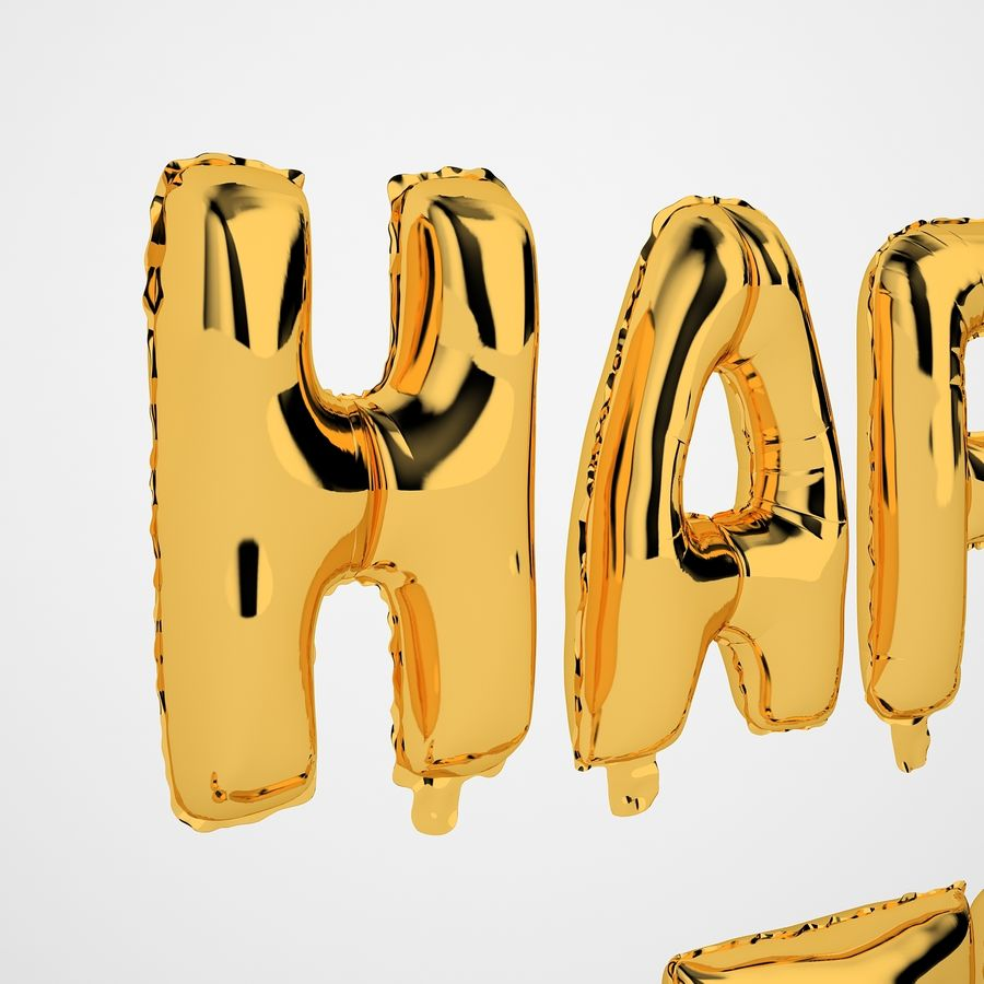 Foil Balloon Gold Words Happy Birthday royalty-free 3d model - Preview no. 29