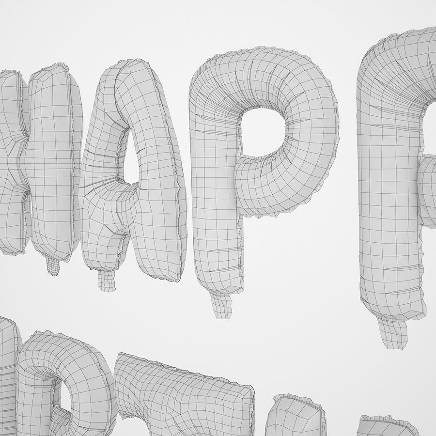 Foil Balloon Gold Words Happy Birthday royalty-free 3d model - Preview no. 28