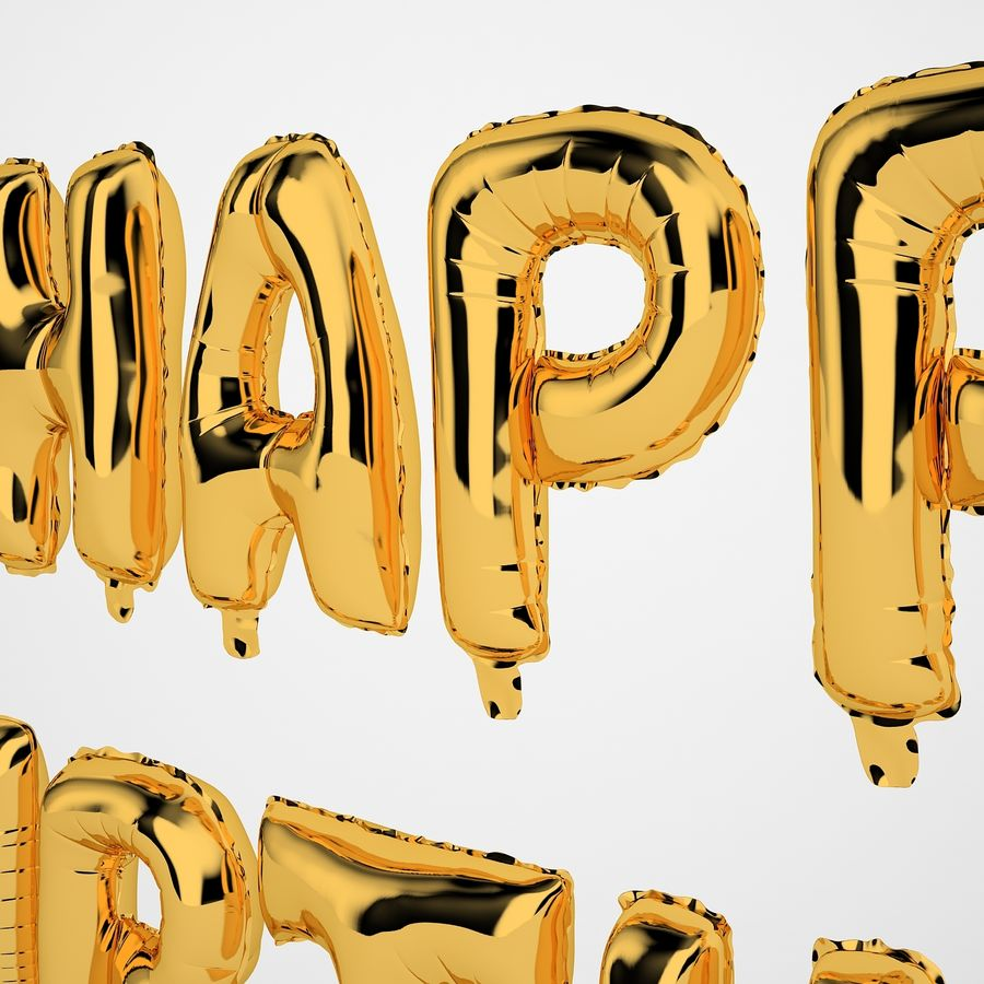 Foil Balloon Gold Words Happy Birthday royalty-free 3d model - Preview no. 27