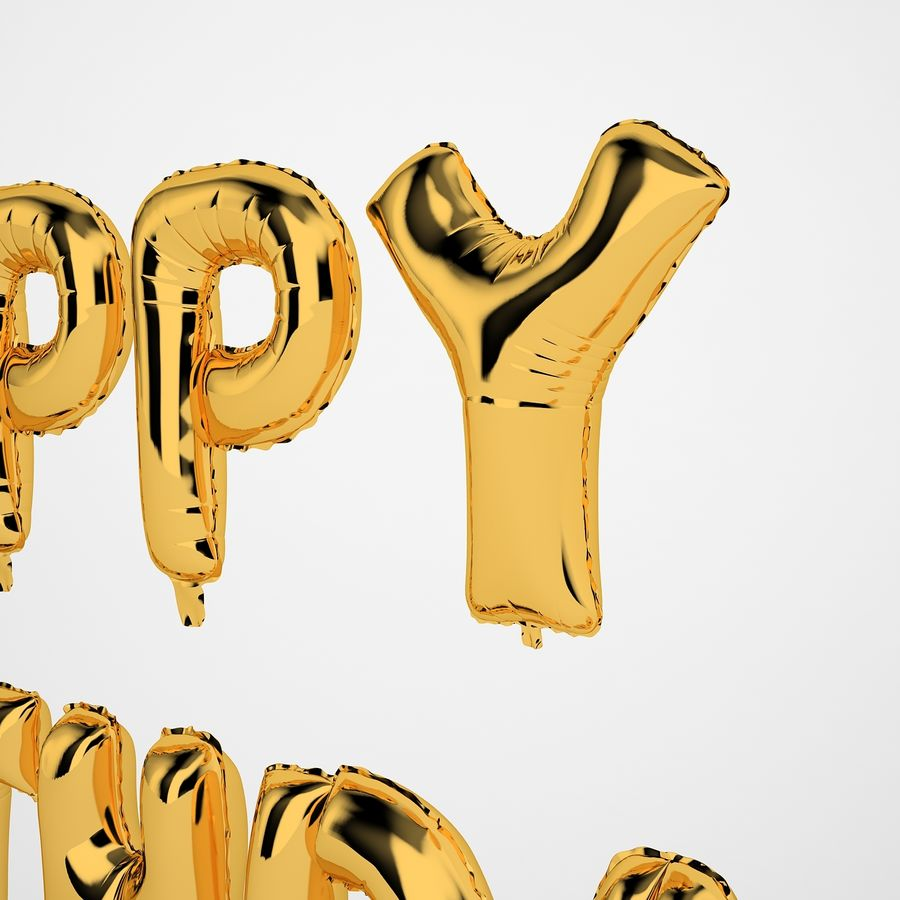 Foil Balloon Gold Words Happy Birthday royalty-free 3d model - Preview no. 23