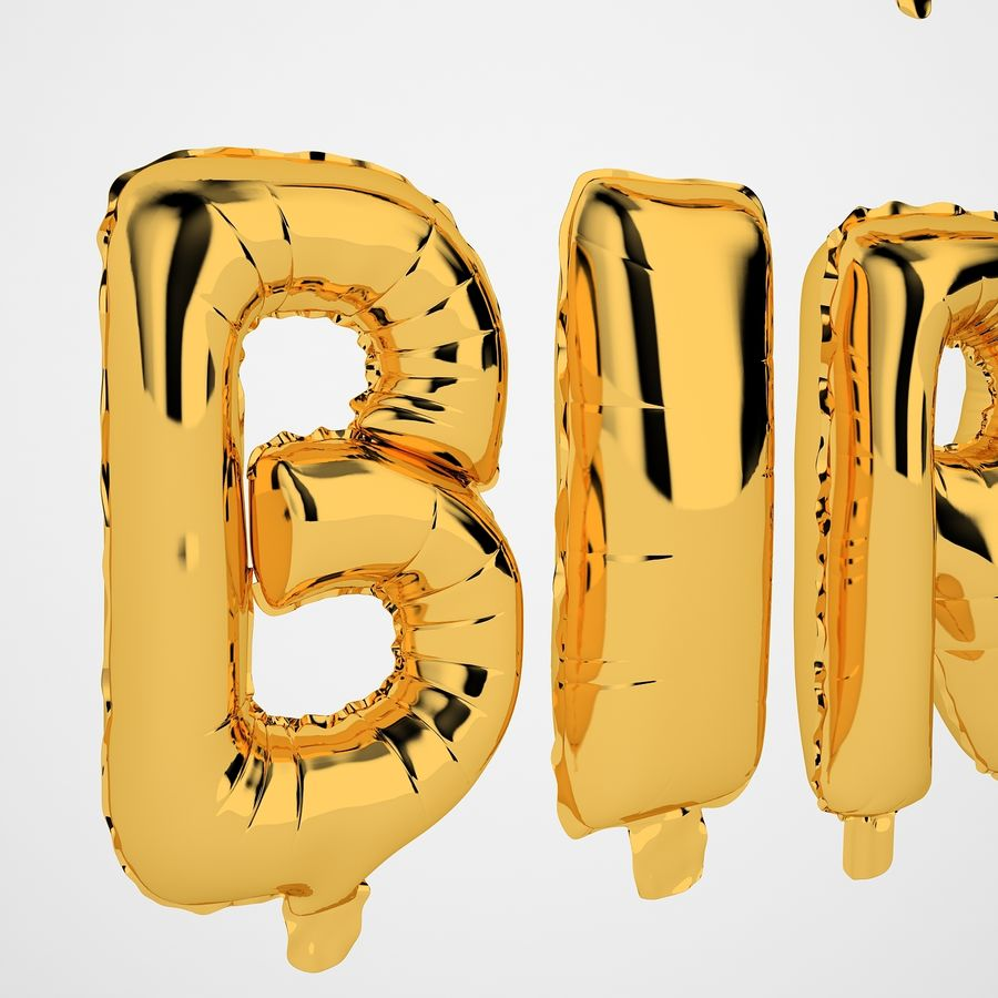 Foil Balloon Gold Words Happy Birthday royalty-free 3d model - Preview no. 33