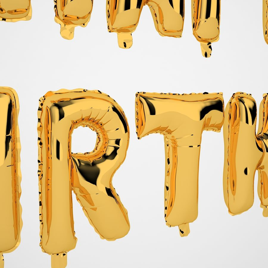 Foil Balloon Gold Words Happy Birthday royalty-free 3d model - Preview no. 31
