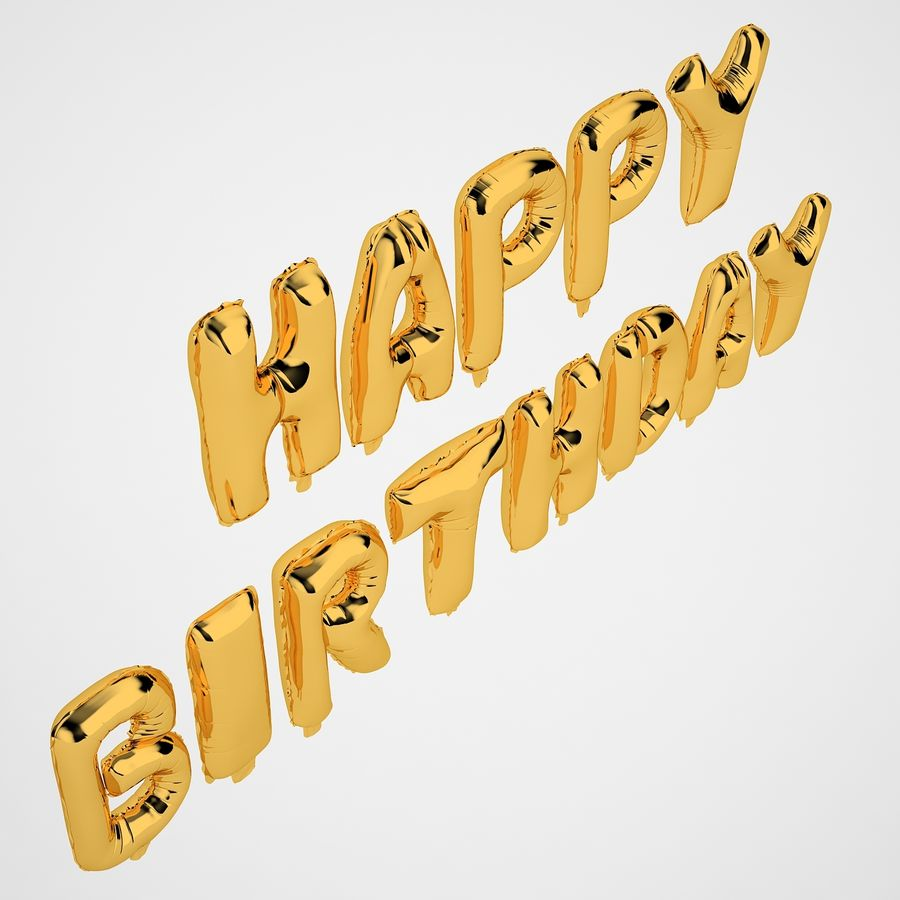 Foil Balloon Gold Words Happy Birthday royalty-free 3d model - Preview no. 7