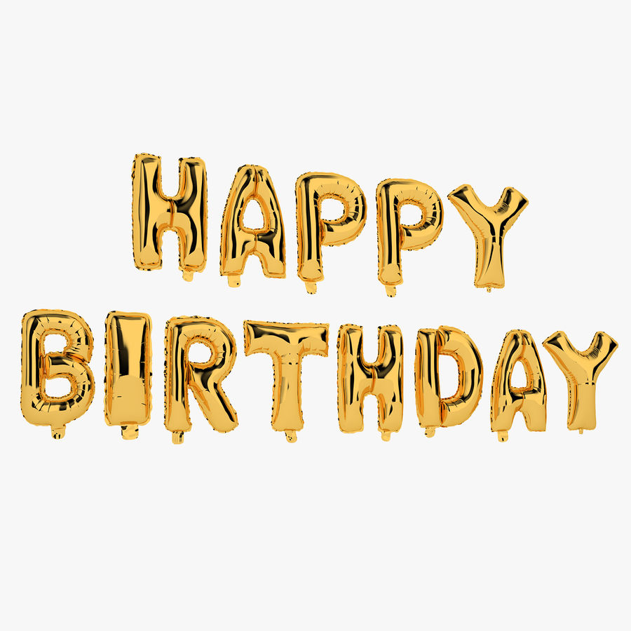 Foil Balloon Gold Words Happy Birthday royalty-free 3d model - Preview no. 1