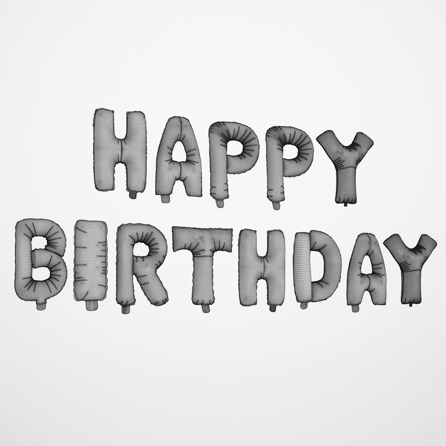 Foil Balloon Gold Words Happy Birthday royalty-free 3d model - Preview no. 3