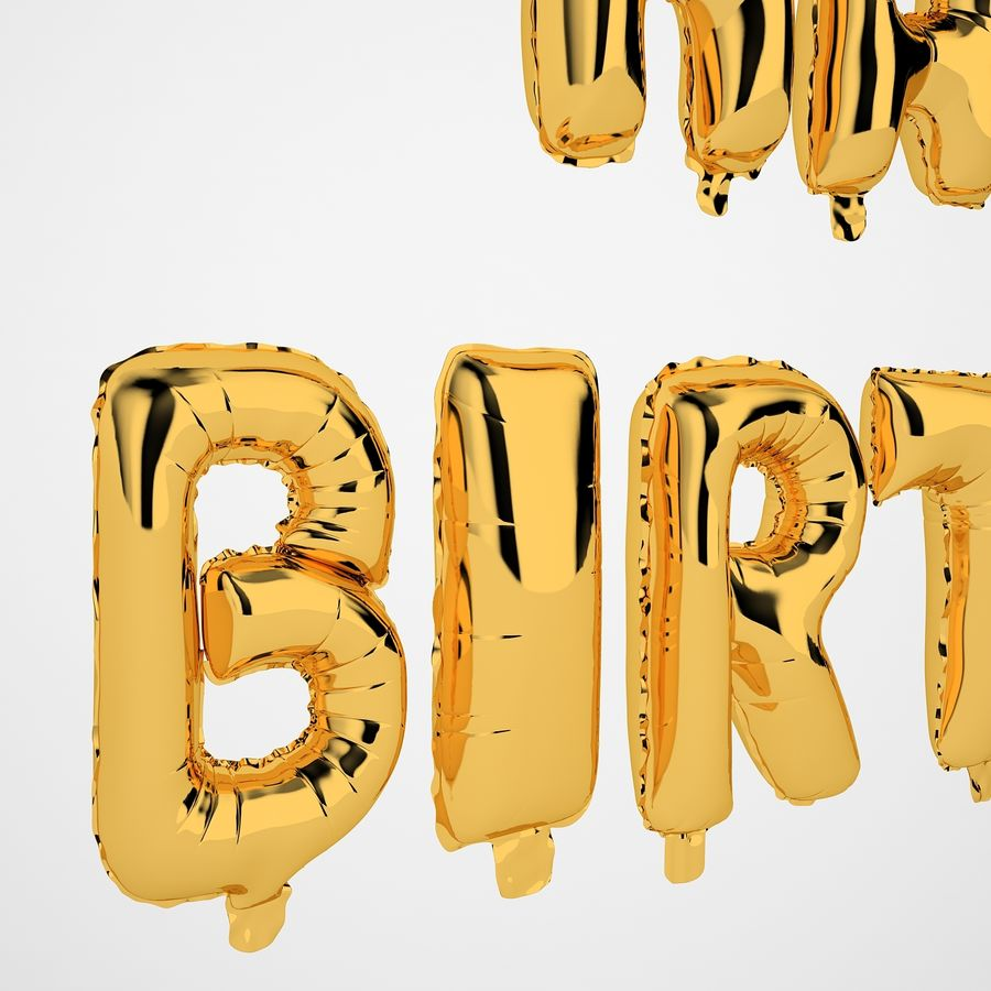 Foil Balloon Gold Words Happy Birthday royalty-free 3d model - Preview no. 15