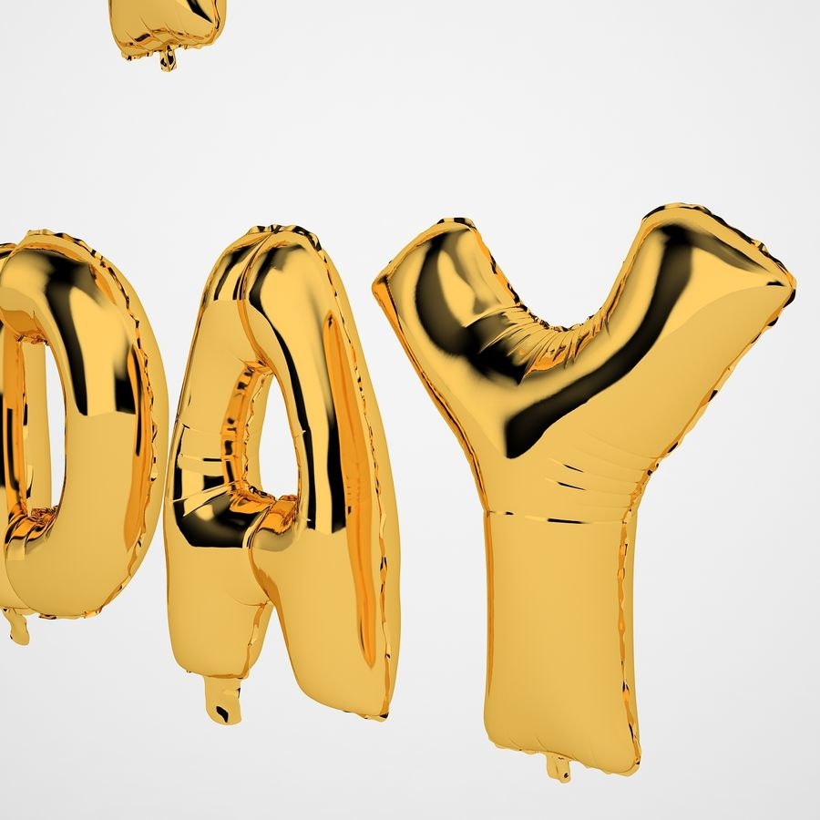 Foil Balloon Gold Words Happy Birthday royalty-free 3d model - Preview no. 21