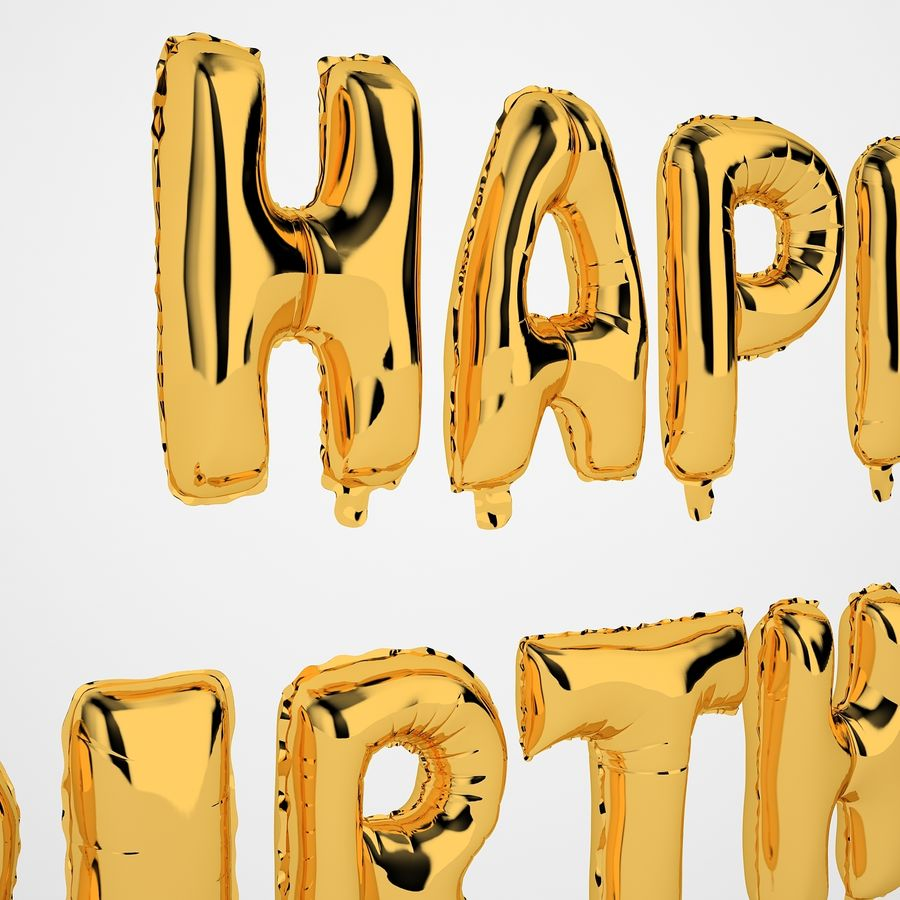 Foil Balloon Gold Words Happy Birthday royalty-free 3d model - Preview no. 17
