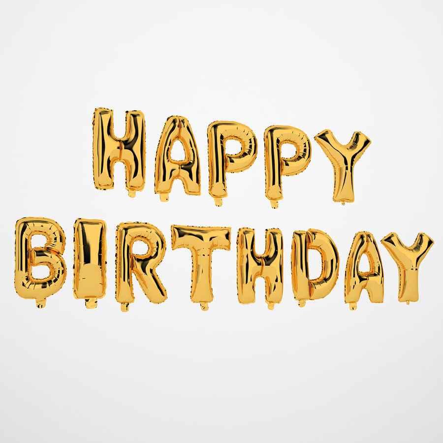 Foil Balloon Gold Words Happy Birthday royalty-free 3d model - Preview no. 2